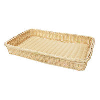 GET WB-1509-N Designer Polyweave Plastic Rectangular Basket - Natural 18 inch x 12 1/4 inch x 2 1/2 inch - 12/Pack