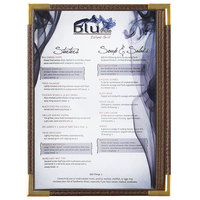 Menu Solutions RS33A BRN GLD Royal 5 1/2 inch x 8 1/2 inch Single Panel / Two View Brown Menu Board with Gold Corners