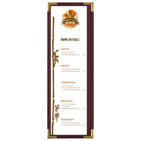 Menu Solutions RS33BD BUR GLD Royal 4 1/4 inch x 14 inch Single Panel / Two View Burgundy Menu Board with Gold Corners