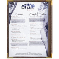 Menu Solutions RS33C BRN GLD Royal 8 1/2 inch x 11 inch Single Panel / Two View Brown Menu Board with Gold Corners