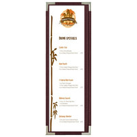 Menu Solutions RS33BD BUR SLV Royal 4 1/4 inch x 14 inch Single Panel / Two View Burgundy Menu Board with Silver Corners