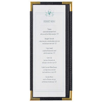 Menu Solutions RS33BA BK GLD Royal 4 1/4 inch x 11 inch Single Panel / Two View Black Menu Board with Gold Corners
