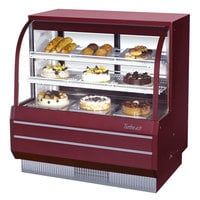 Turbo Air TCGB-48-DR Red 48 1/2 inch Curved Glass Dry Bakery Display Case - 14.8 Cu. Ft.