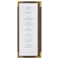Menu Solutions RS33BA BRN GLD Royal 4 1/4 inch x 11 inch Single Panel / Two View Brown Menu Board with Gold Corners