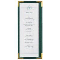 Menu Solutions RS33BA GN GLD Royal 4 1/4 inch x 11 inch Single Panel / Two View Green Menu Board with Gold Corners