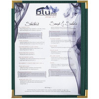 Menu Solutions RS33C GN GLD Royal 8 1/2 inch x 11 inch Single Panel / Two View Green Menu Board with Gold Corners