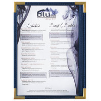 Menu Solutions RS33A BL GLD Royal 5 1/2 inch x 8 1/2 inch Single Panel / Two View Blue Menu Board with Gold Corners