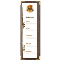 Menu Solutions RS33BD BRN GLD Royal 4 1/4 inch x 14 inch Single Panel / Two View Brown Menu Board with Gold Corners
