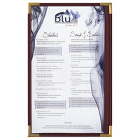 Menu Solutions RS33D BUR GLD Royal 8 1/2 inch x 14 inch Single Panel / Two View Burgundy Menu Board with Gold Corners