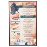 Menu Solutions H500D CHOC Hamilton 8 1/2 inch x 14 inch Single Panel / Two View Chocolate Heat Sealed Menu Board