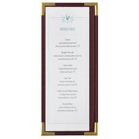 Menu Solutions RS33BA BUR GLD Royal 4 1/4 inch x 11 inch Single Panel / Two View Burgundy Menu Board with Gold Corners