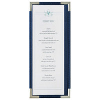 Menu Solutions RS33BA BL SLV Royal 4 1/4 inch x 11 inch Single Panel / Two View Blue Menu Board with Silver Corners