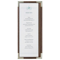 Menu Solutions RS33BA BRN SLV Royal 4 1/4 inch x 11 inch Single Panel / Two View Brown Menu Board with Silver Corners