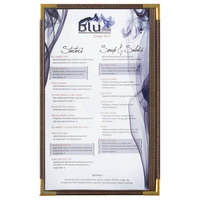 Menu Solutions RS33D BRN GLD Royal 8 1/2 inch x 14 inch Single Panel / Two View Brown Menu Board with Gold Corners