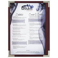 Menu Solutions RS33A BUR SLV Royal 5 1/2 inch x 8 1/2 inch Single Panel / Two View Burgundy Menu Board with Silver Corners
