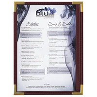 Menu Solutions RS33A BUR GLD Royal 5 1/2 inch x 8 1/2 inch Single Panel / Two View Burgundy Menu Board with Gold Corners