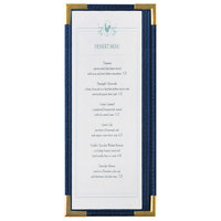 Menu Solutions RS33BA BL GLD Royal 4 1/4 inch x 11 inch Single Panel / Two View Blue Menu Board with Gold Corners