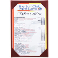 Menu Solutions K111A BURG The Kearny Series 5 1/2 inch x 8 1/2 inch Single Panel / Double-Sided Burgundy Menu Board