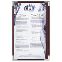 Menu Solutions RS33D BUR SLV Royal 8 1/2 inch x 14 inch Single Panel / Two View Burgundy Menu Board with Silver Corners