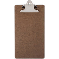 Menu Solutions CLIPCHECK-HB 5 inch x 9 inch Single Panel Dark Brown Hardboard Clipboard Check Presenter