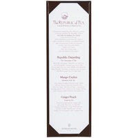Menu Solutions K111BD BROWN The Kearny Series 4 1/4 inch x 14 inch Single Panel / Double-Sided Brown Menu Board