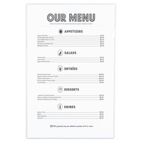 Menu Solutions CHS100G 11 inch x 17 inch Single Panel / Two View Clear Heat Sealed Menu Cover