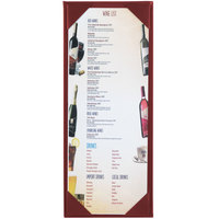 Menu Solutions K111BA BURG The Kearny Series 4 1/4 inch x 11 inch Single Panel / Double-Sided Burgundy Menu Board