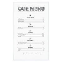 Menu Solutions CHS100D 8 1/2 inch x 14 inch Single Panel / Two View Clear Heat Sealed Menu Cover