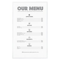 8 1/2 inch x 14 inch Single Panel / Two View Clear Heat Sealed Menu Cover