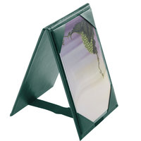 Menu Solutions TT067A GRN 4 inch x 6 inch A-Frame / Two View Green Table Tent with Picture Corners