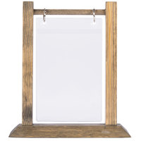 Menu Solutions WFT4S-A 4 inch x 6 inch Antiqued Wood Flip Top Table Tent