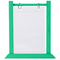 Menu Solutions WFT4S-B 5 inch x 7 inch Teal Wood Flip Top Table Tent
