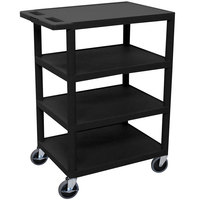 Luxor BC45-B Black 4 Shelf Serving Cart - 18 inch x 24 inch x 39 inch