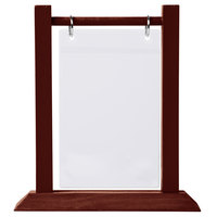 Menu Solutions WFT4S-B 5 inch x 7 inch Mahogany Wood Flip Top Table Tent