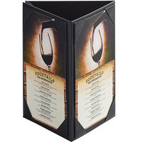 Menu Solutions TT37 5 inch x 7 inch Triple Panel Table Tent with Picture Corners