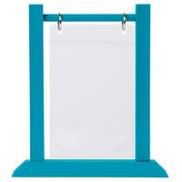 Menu Solutions WFT4S-A 4 inch x 6 inch Sky Blue Wood Flip Top Table Tent