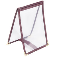 Menu Solutions SE134 BURGUNDY 4 inch x 6 inch Single Panel / One View Burgundy Sewn Edge Table Tent