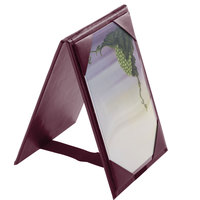 Menu Solutions TT067A BURG 4 inch x 6 inch A-Frame / Two View Burgundy Table Tent with Picture Corners