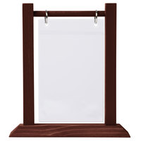 Menu Solutions WFT4S-A 4 inch x 6 inch Mahogany Wood Flip Top Table Tent with Plastic Sheet and Rings   - 2/Pack