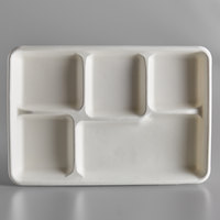 EcoChoice 8 1/2 inch x 12 inch Biodegradable, Compostable Sugarcane / Bagasse 5 Compartment Long Tray - 300/Case