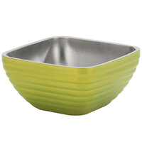 Vollrath 4763430 Double Wall Square Beehive 3.2 Qt. Serving Bowl - Lemon Lime