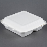 EcoChoice Biodegradable, Compostable Sugarcane / Bagasse 9 inch x 9 inch x 3 inch Takeout Container 3 Compartment - 200 / Case