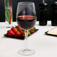 Libbey 7533-1358M Vina 16 oz. Wine Glass with Etched Pour Lines and Vino! Deco Design   - 12/Case