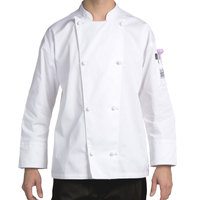 Chef Revival Silver J003-4X Knife and Steel Size 60 (4X) White Customizable Long Sleeve Chef Jacket - Poly-Cotton Blend