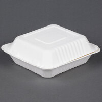 EcoChoice Biodegradable, Compostable Sugarcane / Bagasse 8 inch x 8 inch 1 Compartment Takeout Box - 50 / Pack