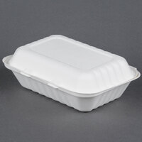 EcoChoice Biodegradable, Compostable Sugarcane / Bagasse 9 inch x 6 inch x 3 inch Takeout Container 1 Compartment - 50 / Pack