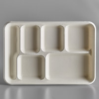 EcoChoice 8 1/2 inch x 12 1/2 inch Biodegradable, Compostable Sugarcane / Bagasse 6 Compartment Tray - 100/Pack
