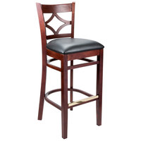 Lancaster Table &amp&#x3b; Seating Mahogany Diamond Back Bar Height Chair with 2 1/2 inch Padded Seat