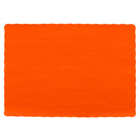 Choice 10 inch x 14 inch Bittersweet Colored Paper Placemat with Scalloped Edge   - 1000/Case