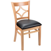 "Lancaster Table &amp&#x3b; Seating Natural Diamond Back Chair with 2 1/2"" Padded Seat"